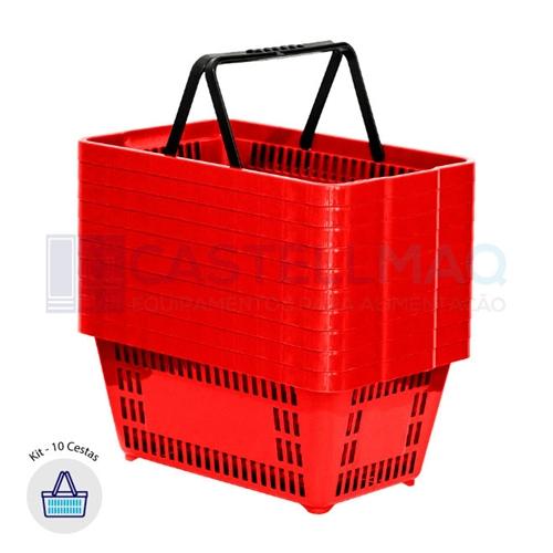 mil ansiedad Cortar  Kit - 10 cestas de compras plástica 13l vermelho - castellmaq - CASTELLMAQ